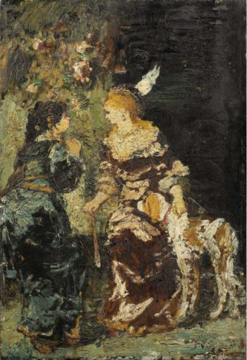 Two Women with a Dog | Adolphe Monticelli | oil painting