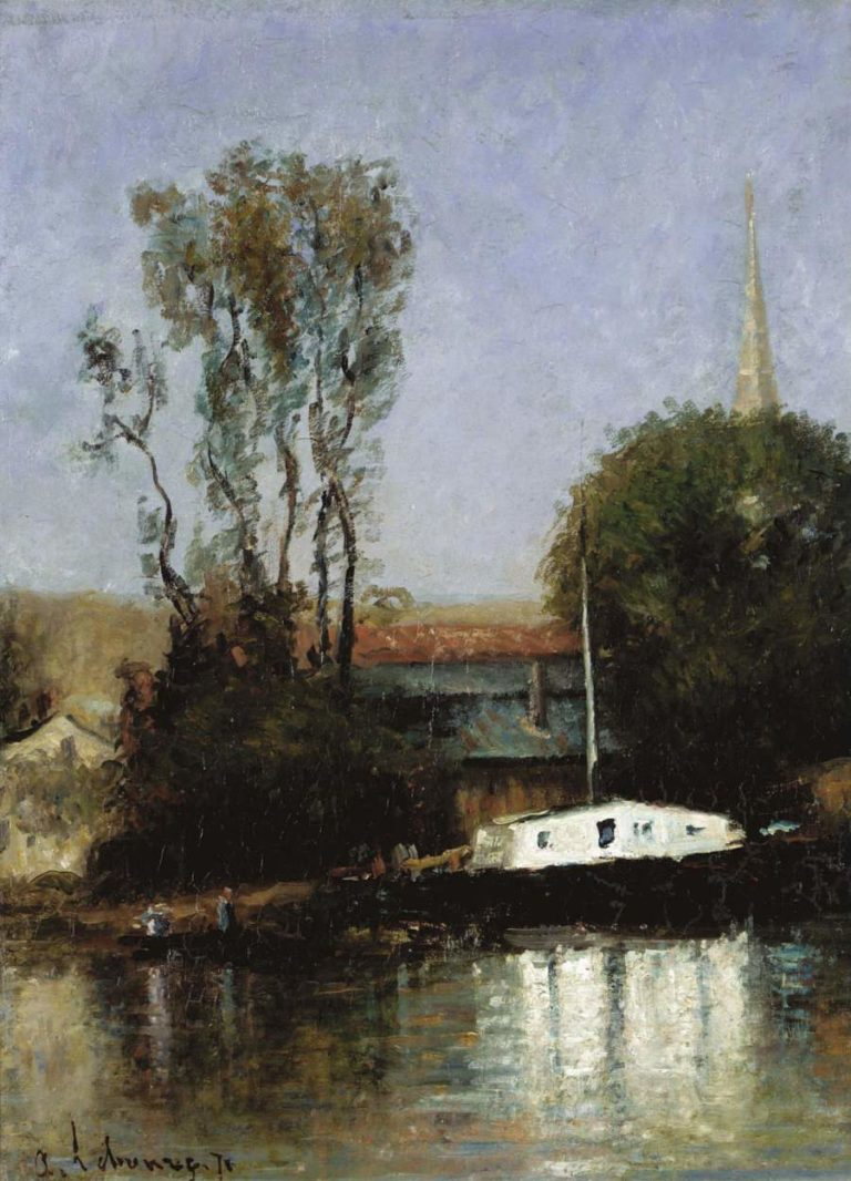 A Boat on the Seine 1871   Albert Lebourg   oil painting