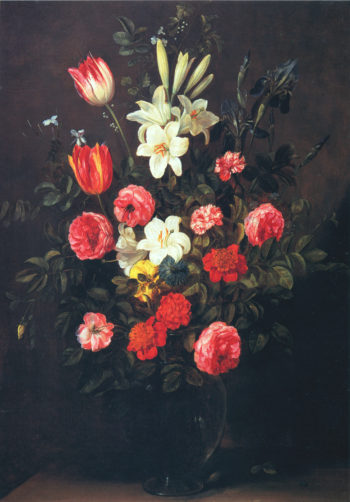 Bouquet of flowers in a glass vase | Frans Ykens | oil painting