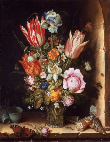 Still life with flowers and sea shells | Christoffel van den Berghe | oil painting