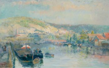 Sailing Boat at the Bank of the Seine near Rouen | Albert Lebourg | oil painting