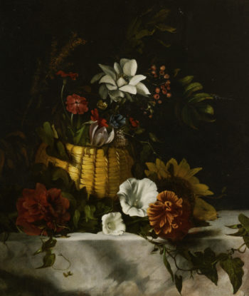 Basket with flowers on marble | Dirck de Bray | oil painting