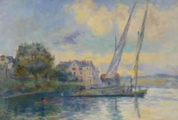 The Bank of Geneve Lake Saint Gingolph 1900   Albert Lebourg   oil painting