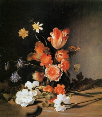 Still Life with Flowers and caterpillar | Dirck de Bray | oil painting