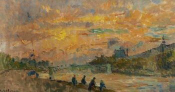 The Bridge of Saint Peres at Paris the Sunset | Albert Lebourg | oil painting