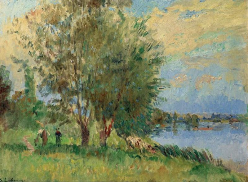 The Figures on the Riverbank | Albert Lebourg | oil painting