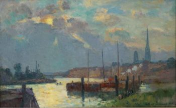 The Port and the Cathedral of Rouen 1892 | Albert Lebourg | oil painting