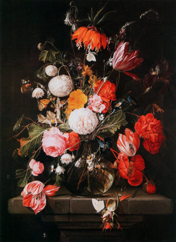 Bouquet of flowers in a glass vaze | Cornelis de Heem | oil painting