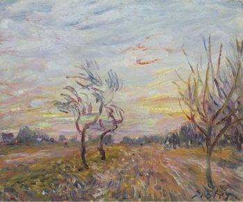 An Orchard in the Outskirts of Moret sur Loing 1890   Alfred Sisley   oil painting