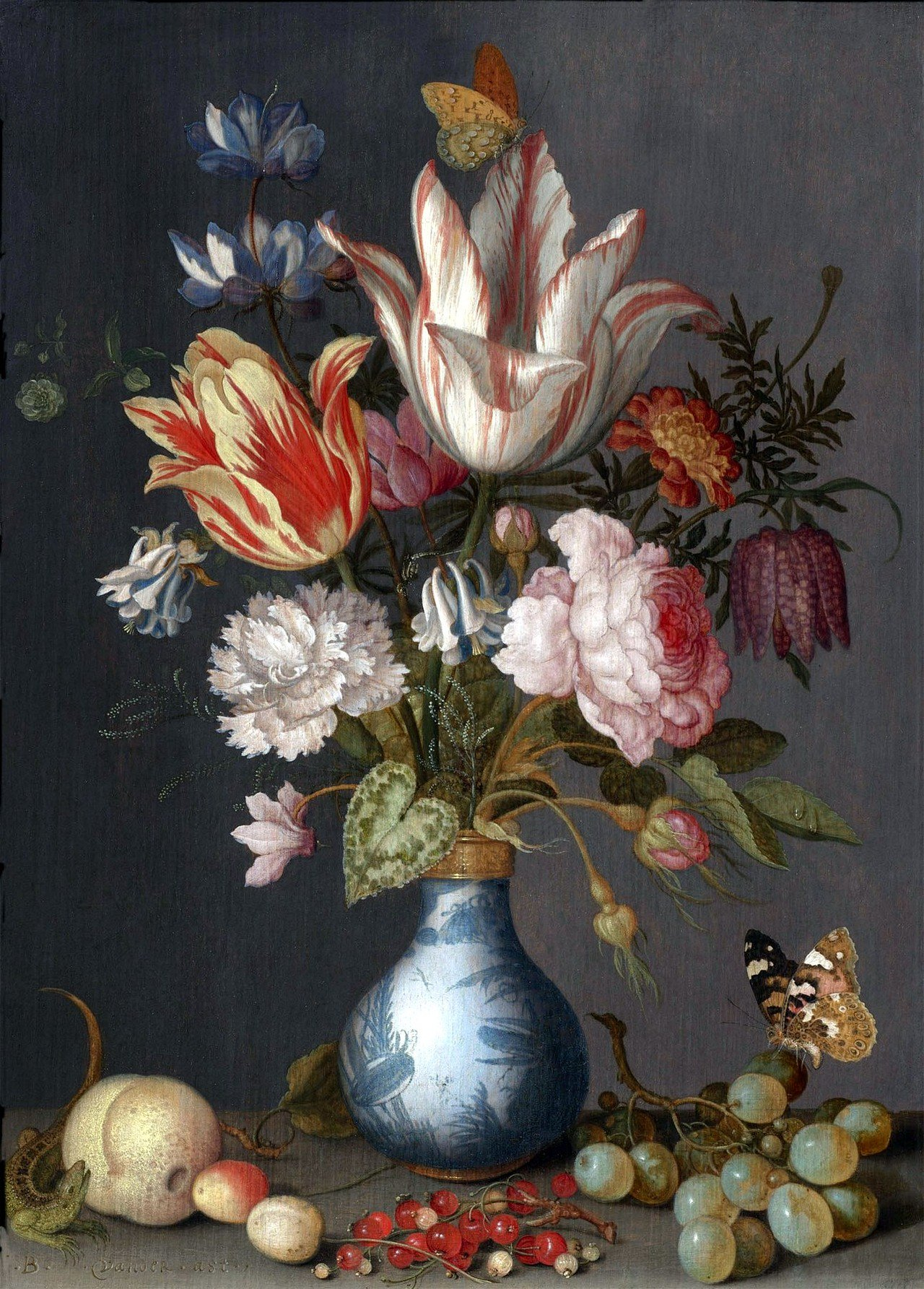 Bouquet of flowers in a Chinese vase Painting | Balthasar ...