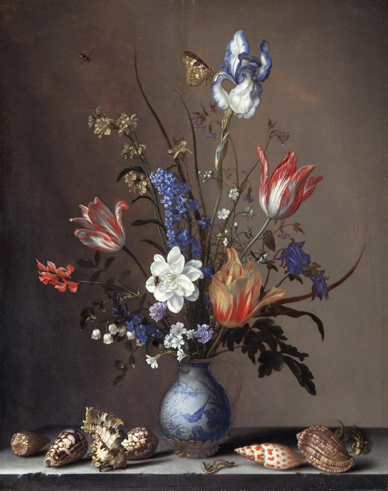 Bouquet of flowers in a Chinese vase with sea shells | Balthasar van der Ast | oil painting