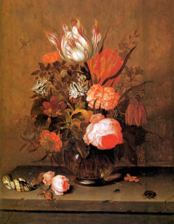 Bouquet of flowers in a glass vase | Anthony Claesz I | oil painting