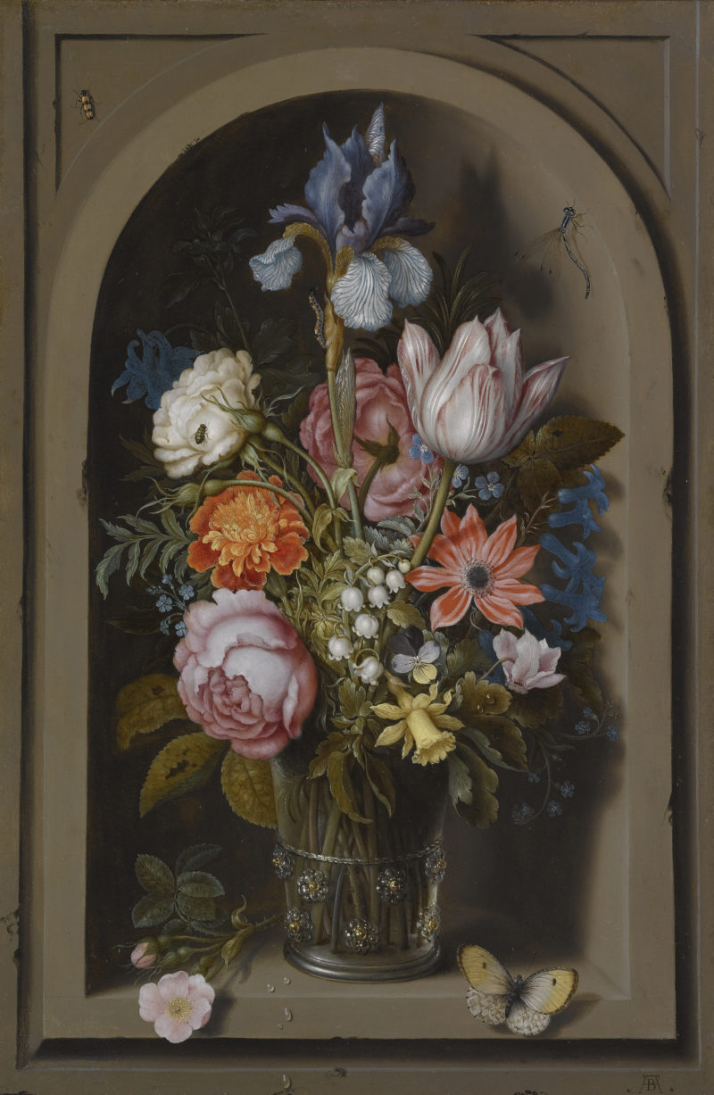 Still life with flowers in a marble niche (about 1621) | Ambrosius Bosschaert the Elder | oil painting