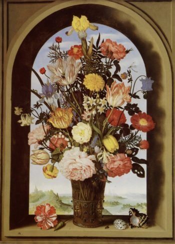 Still life with flowers in a glass vase in the window recess | Ambrosius Bosschaert the Elder | oil painting