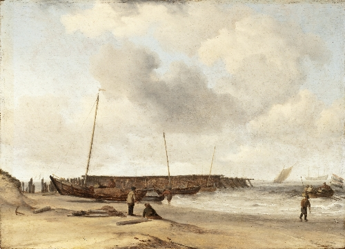 Beach with a Weyschuit Pulled up on Shore | Willem van de Velde the Younger | oil painting