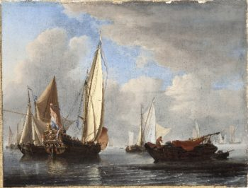 A Yacht and Other Vessels in a Calm | Willem van de Velde the Younger | oil painting