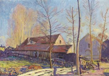 The Mills of Moret Frost Evening Effect 1888 | Alfred Sisley | oil painting