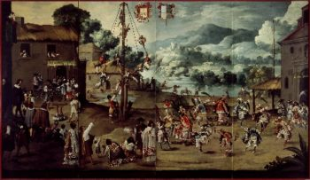 Folding Screen with Indian Wedding and Flying Pole (Biombo con desposorio indigena y palo volador) | Unknown | oil painting