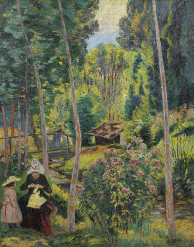 Banks of the Orge Madame Guillaumin and Her Daughter Madeleine 1891   Armand Guillaumin   oil painting