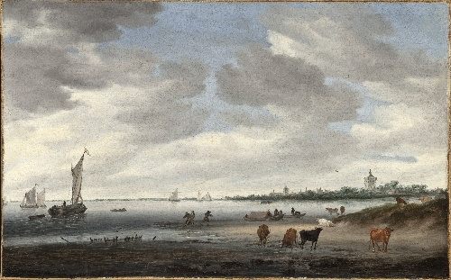 View of the River Lek and Vianen | Salomon Jacobsz van Ruysdael | oil painting