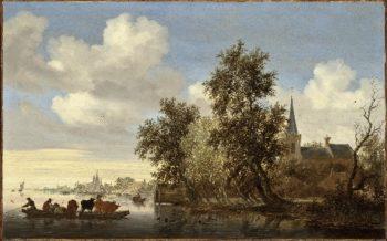 River Landscape with a Ferry | Salomon Jacobsz van Ruysdael | oil painting