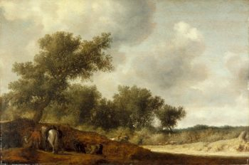 Landscape with Deer Hunters | Salomon Jacobsz van Ruysdael | oil painting