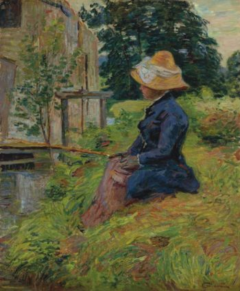 Madame Guillaumin Fishing 1885   Armand Guillaumin   oil painting