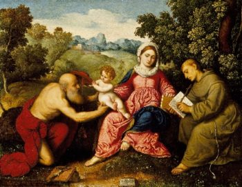 Madonna and Child with Saints Jerome and Francis | Paris Bordone | oil painting