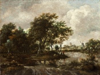Landscape with Anglers and a Distant Town | Meindert Hobbema | oil painting
