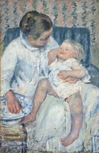 Mother About to Wash Her Sleepy Child | Mary Cassatt | oil painting