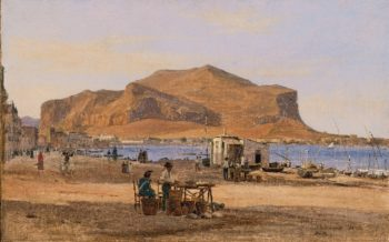 Palermo Harbor with a View of Monte Pellegrino | Martinus Rorbye | oil painting
