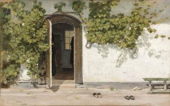 Entrance to an Inn in the Praestegarden at Hillested | Martinus Rorbye | oil painting