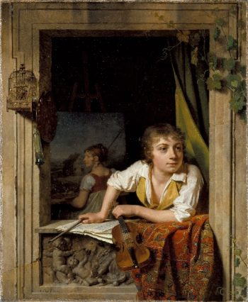 Painting and Music (Portrait of the Artists Son) | Martin Drolling | oil painting