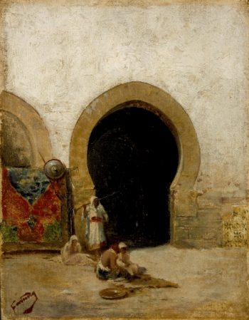 At the Gate of the Seraglio | Mariano Jose Maria Bernardo Fortuny y Carbo | oil painting