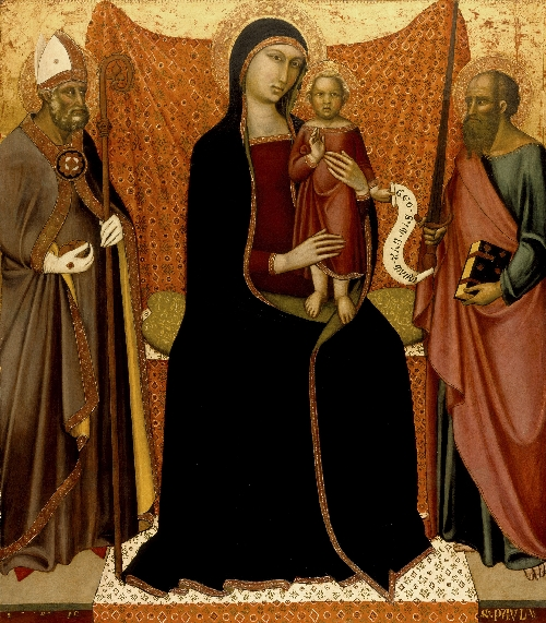 Madonna and Child with Sts. Nicholas and Paul   Luca di Tomme   oil painting