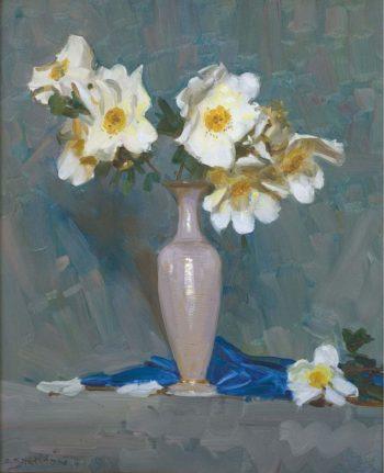 Roses in a Cream Vase | Arthur Streeton | oil painting