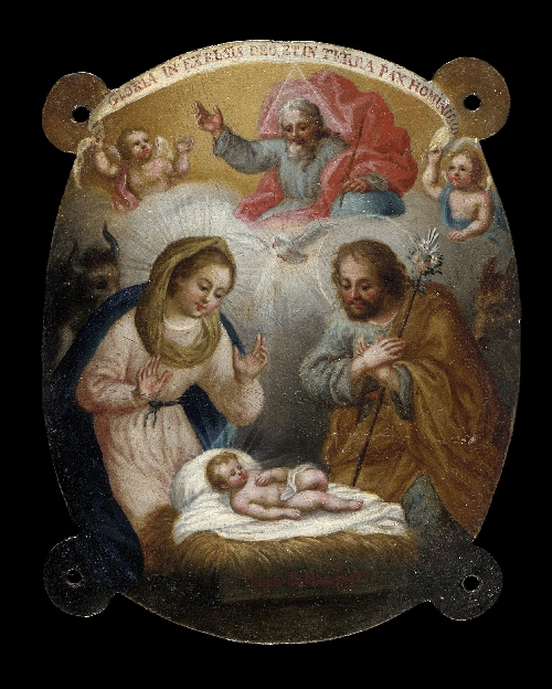 Badge with Adoration of the Shepherds (Escudo con la adoracion de los pastores) | Jose de Paez | oil painting