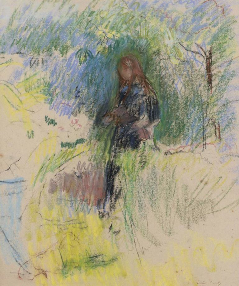 Young Girl with a Dog 1892 | Berthe Morisot | oil painting