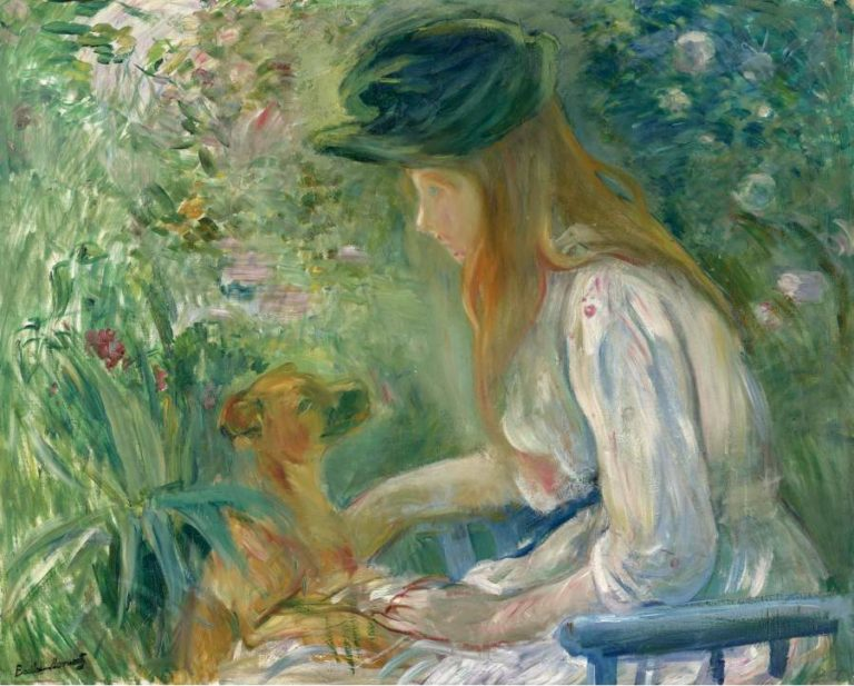 Young Woman with the Dog 1892 | Berthe Morisot | oil painting