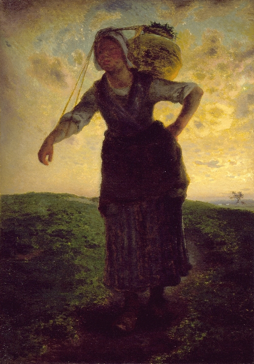 A Norman Milkmaid at Greville   Jean-Francois Millet   oil painting