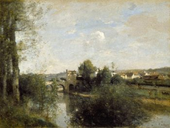Seine and Old Bridge at Limay | Jean-Baptiste-Camille Corot | oil painting