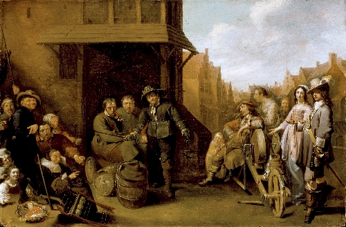 A Street Scene with Knife Grinder and Elegant Couple | Jacob Duck | oil painting