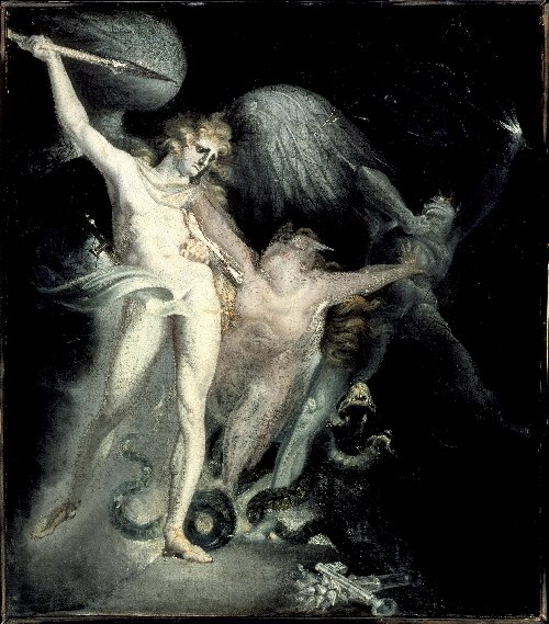 Satan and Death with Sin Intervening | Henry Fuseli | oil painting