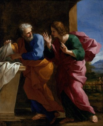 St. John and St. Peter at Christs Tomb | Giovanni Francesco Romanelli | oil painting