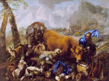 Noahs Sacrifice after the Deluge | Giovanni Benedetto Castiglione (called il Grechetto) | oil painting