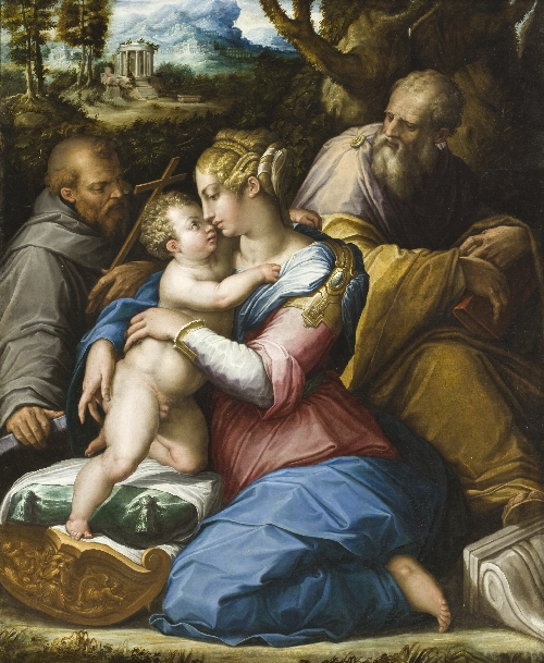 Holy Family with Saint Francis in a Landscape | Giorgio Vasari | oil painting