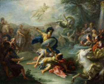 The Fight between Aeneas and King Turnus | Giacomo del Po | oil painting