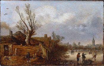Cottages and Frozen River | Esaias van de Velde I | oil painting