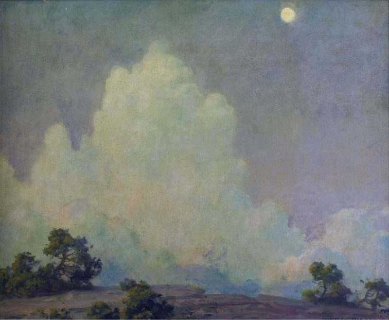 Evening Cloud and Rising Moon 1942   Charles Courtney Curran   oil painting