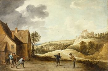 Landscape with Peasants Playing Bowls Outside an Inn | David Teniers the Younger | oil painting
